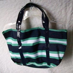 Teal, Navy & White Striped Tote Bag - NWOT